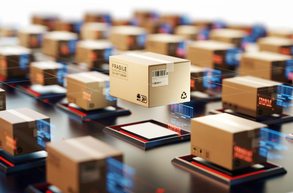 Packages are transported in high-tech Settings,